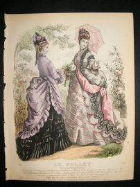 .Fashion Print: 1874 hand colored Le Follet #1018